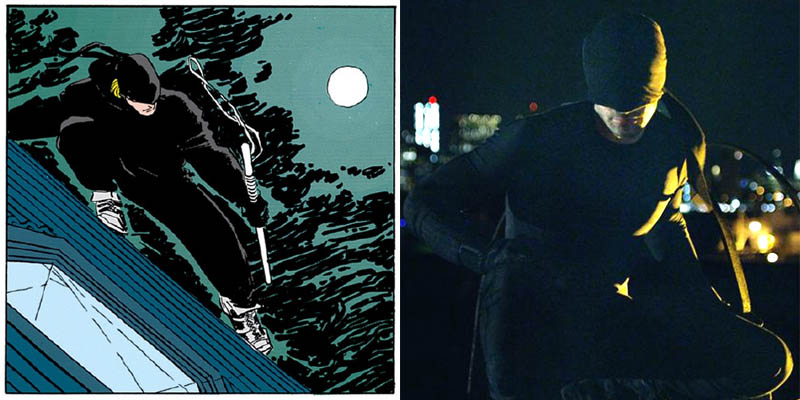 Daredevil Man Without Fear comics costume vs Netflix costume
